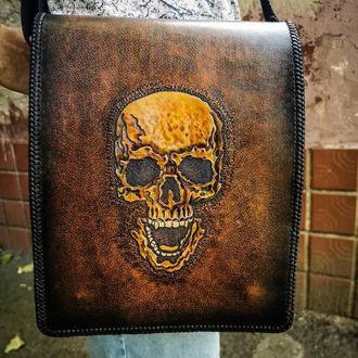 Кожаная сумка через плечо с черепом, кожаная сумка через плечо подарок парню, кожаная крутая сумка