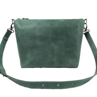 Женская кожаная сумка на плече. 07014/зеленый