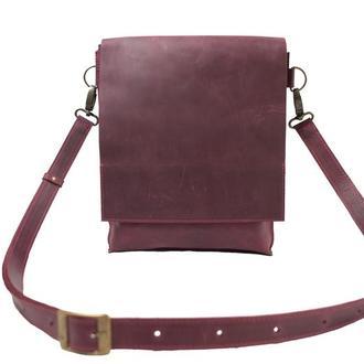 Кожаная сумка-планшет на скрытых магнитах. 07010/бордо
