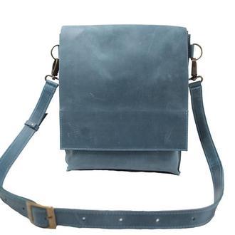 Кожаная сумка-планшет на скрытых магнитах. 07010/голубой
