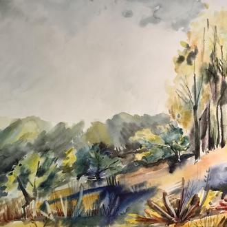 Картина, акварель, этюд «На холме в Березовом»