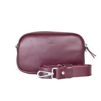 Женская кожаная сумка поясная/кроссбоди Holly бордовая