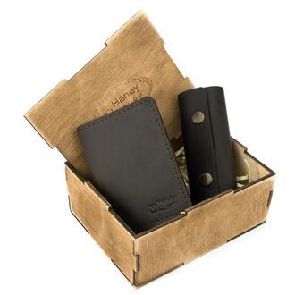 Мужской подарочный набор в коробке Handycover №43 коричневый (ключница, обложка на ID паспорт)
