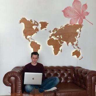 Карта Мира деревянная с подсветкой