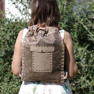 Женский кожаный повседневный рюкзак небольшого размера бежевого цвета, Рюкзак из шкуры коровы