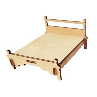 Миниатюрная кровать двуспальная, 12х5,8х9,9 см, фанера