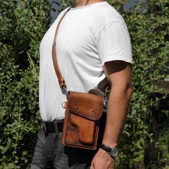 Мужская кожаная сумка, Небольшая кожаная сумка,  Кожаная сумка на пояс, Сумка - кобура