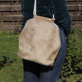 Женская сумка из шкуры коровы и кожи, Женская сумка шоппер