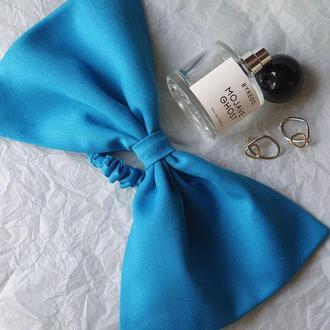 Голубой каркасный бант Natochka / резинка для волос