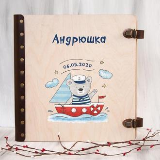 Деревянный детский альбом для фотографий с магнитными листами и именной печатью
