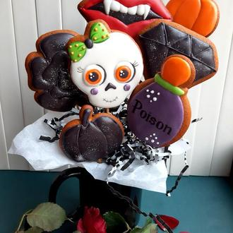 """Сет №7 """"Дівчинка вамп"""" до Хеловіну, пряники на Хэллоуин, пряники к Хэллоуину, пряники на Хеловін"""