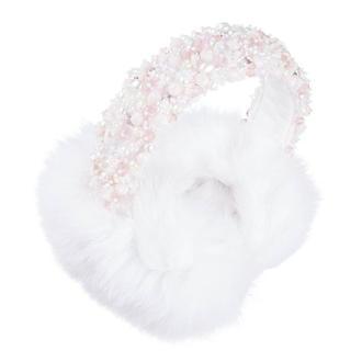 Белые меховые наушники украшенные хрустальными бусинами и бисером