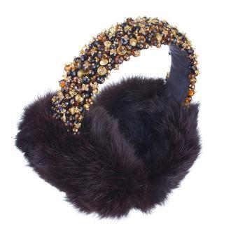 Черные меховые наушники украшенные хрустальными бусинами