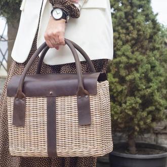 Плетеная сумка с кожаными ручками Плетеная сумка Плетеная сумка-корзина Сумка чемодан Сумка саквояж