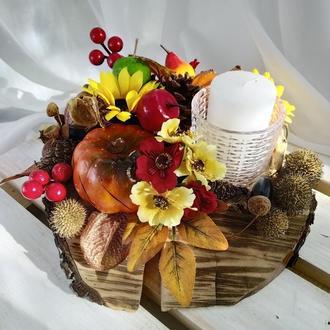 Настольный декор, декор стола, декоративный подсвечник, осенний декор, осенний подсвечник