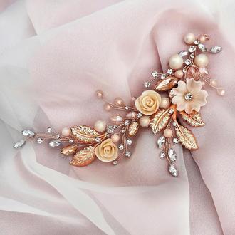 Свадебное украшение для волос, веточка в прическу, украшения в прическу на выпускной, заколка