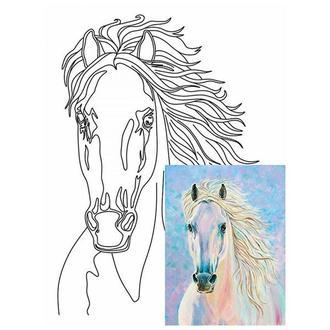 Холст на картоне 30х40 см с контуром Белый конь № 4