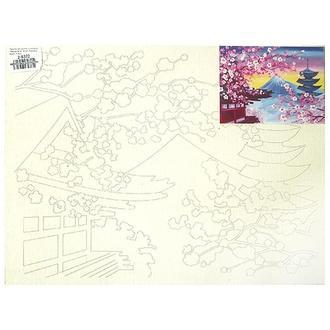Холст на картоне с контуром 30х40 см, Фудзияма весной № 16