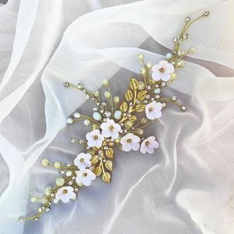 Свадебное украшение для волос,  золотистая веточка в прическу, украшения в прическу на выпускной