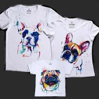 """ФП005314Футболки Фэмили Лук Family Look для всей семьи """"Цветные собаки"""" Push IT"""