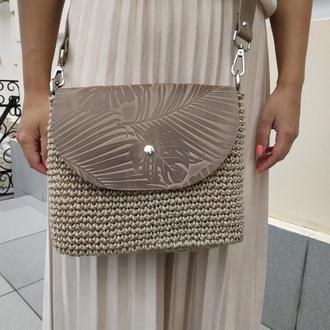 Cтильная женская сумка через плечо. Вязаная кроссбоди