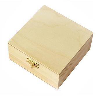 Шкатулка деревянная квадратная с замком 10х10х5 см, Albero