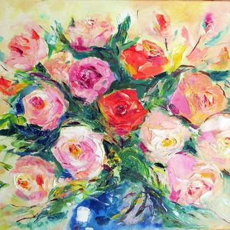 "Картина маслом ""Свежий букет роз"""