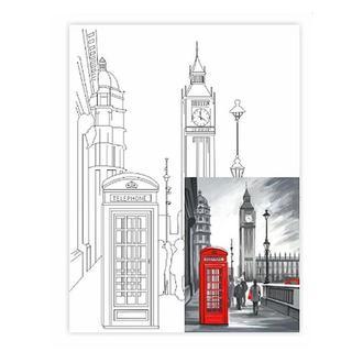 Холст на картоне с контуром 30х40 см, Лондон