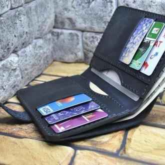 Черный портмоне из натуральной кожи K62-0