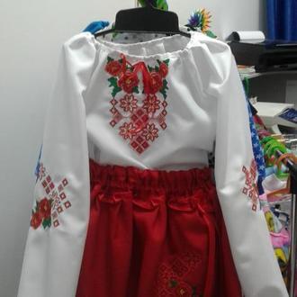 """Детский костюм-вышиванка для девочки орнамент  """"Цветочные ромбики с розами"""" на 6 и 8лет"""