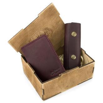 Женский подарочный набор в коробке Handycover №43 бордовый (ключница, обложка на ID паспорт)