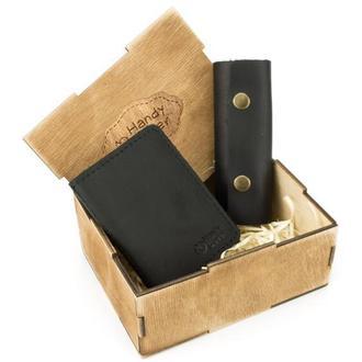 Мужской подарочный набор в коробке Handycover №43 черный (ключница, обложка на ID паспорт)