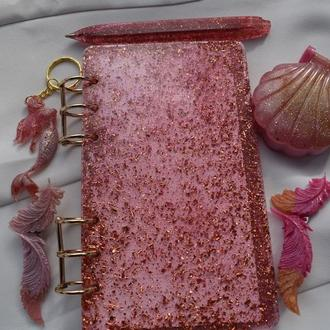 """Подарочный Хендмейд набор """"Розовое золото"""" 5 в 1: Блокнот, ручкa и .."""