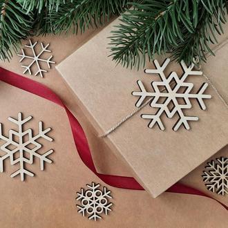 Новогодние игрушки на елку, деревянные елочные игрушки. (SF007)