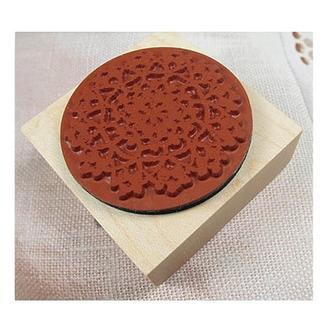 Штамп резиновый на деревянной основе Кружево 5х5 см