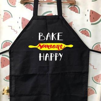 """ФА000268Фартук с принтом """"Bake someone happy"""""""