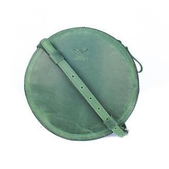 Женская кожаная сумка Amy S зеленая винтажная