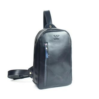 Мужская кожаная сумка Chest bag синяя