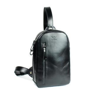 Мужская кожаная сумка Chest bag черная