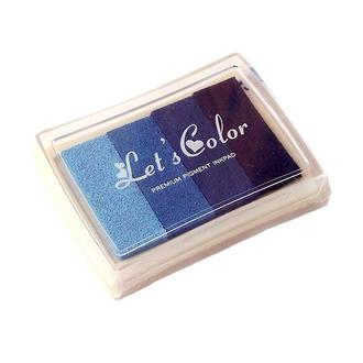 Штемпельная подушка 4 цвета, синие оттенки