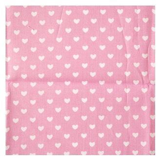 Ткань 98х100 см Розовая с белыми сердечками