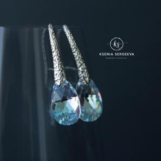 Серьги капли с кристаллами Swarovski
