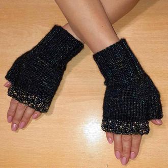 Митенки перчатки без пальцев с вышивкой со стразами и бисером