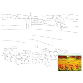 Холст на картоне 30х40 см с контуром Тосканский пейзаж №10