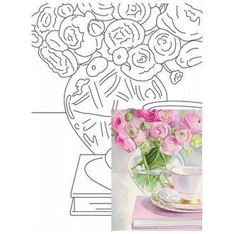 Холст на картоне 30х40 см с контуром Розовые пионы в вазе № 24