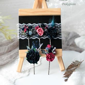 Заколки-невидимки с цветами в сине-бордовом цвете (5 шт)