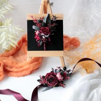 Набор бутоньерок в бордовом цвете (2 шт).