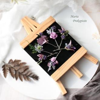Заколки-невидимки с цветами в фиолетовом цвете (7 шт)