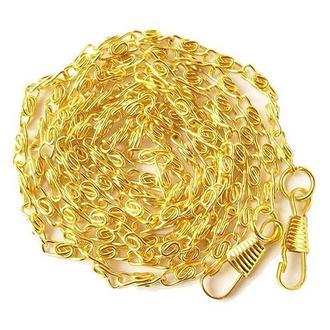 Цепочка плетеная с карабинами яркое золото 120 см