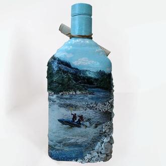"""Декор бутылки в подарок мужчине """"Рафтинг"""" Подарок любителю экстримального вида отдыха"""